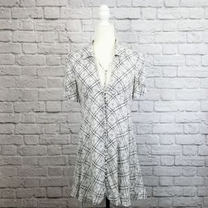 Free People white gray diamond print skater dress